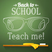 Nerd glasses on the chalkboard with back to school greeting. Vector — Vettoriale Stock