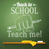 Crayon au poing sur le tableau noir avec dos à la salutation de l'école. Vector — Vecteur