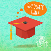 Cute school, college, university poster - graduation cap, with speech bubble and slogan -Graduate time-, or place for your text. Vector illustration. — Stok Vektör
