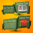 Set of cute back to school banners with text book and graduation cap. With place for your advertisement text. — Stock Vector #50733371