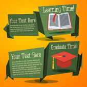 Set of cute back to school banners with text book and graduation cap. With place for your advertisement text. — Stock Vector
