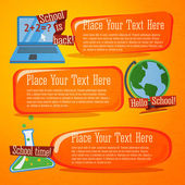 Set of cute back to school banners with computer, globe and chemistry flask. With place for your advertisement text. — Stockvektor