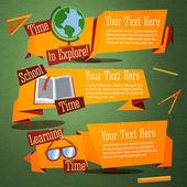 şirin geri okul afiş küre, metin kitap, gözlük için ayarlayın. reklam metniniz için daha fazla yer ile. vektör — Stok Vektör