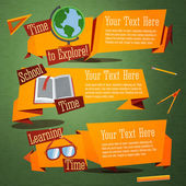 Set of cute back to school banners with globe, text book, glasses. With place for your advertisement text. Vector — Stock Vector