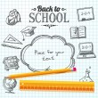 Back to school message on paper with speech bubble for your text. With drawings of - globe, notebook, blackboard, backpack, text book, graduation cap, bus, science bulb, pencil, ruler. Vector — Stock Vector #50804359
