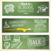 Welcome back to school messages on the chalkboard. Drawings - globe, notebook, book, graduation cap, bus, science bulb. Vector — Stock Vector