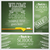 Set of school banners - different web site templates with sample text place for your message. Vector — Vecteur
