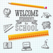 Welcome back to school message on paper. With drawings - globe, notebook, text book, graduation cap, bus, science bulb, pencil, ruler. Vector — Vector de stock