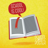 Cute school, college, university poster - study book, with speech bubble and slogan -School is cool-, or place for your text. Vector. — Stock Vector