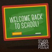 Gulligt skola, högskola, universitet affisch - skola svart tavla, med slogan -välkommen tillbaka till skol, eller plats för din text. vektor. — Stockvektor