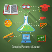 Flat concept of research, education processes. With icons - notebook, blackboard, book, graduation cap, science bulb, pencil and ruler, clock, coffee cup, glasses. Vector — Stock Vector