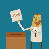 Businessman put a vote ballot into the box — Stock Vector