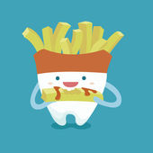 Tooth with french fries style — Stock Vector