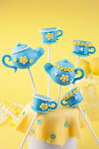 Teapot and teacup cake pops — Stok fotoğraf
