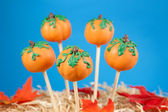 Pumpkin cake pops — Stock Photo