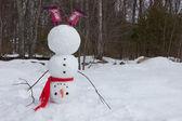 Snowman headstand — Stock Photo