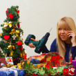 Girl unhappy with a wrong christmas gift — ストック写真