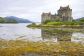 Eilean donan castle reflection, Scotland. UK. — Stock Photo