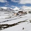 Mountain town of Puerto de Somiedo in winter, Asturias. Spain. — Stock Photo