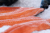 Salmon from Norway at Bergen market, Norway. — Stock Photo