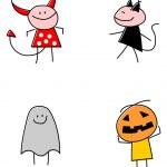 Halloween Costumed Children — Stock Vector