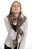 Female flying kisses — Stock Photo