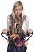 Messy female with bag — Stock Photo