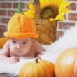 Kid and pumpkin. — Stock Photo