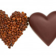 Two hearts of chocolate and coffee beans on white background, кофе, шоколад, сердце — Stock Photo