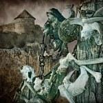 Gothic skulls and bones near the old fortress, Хэллоуин — Stock Photo #39900423