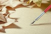 Old paper pen fountain and foliage, старая бумага, перо, листья — Stock Photo