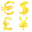 Golden currency symbols — Stock Vector