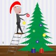 Kid decorating the Christmas tree with balls. — Stock Vector