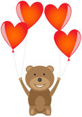 Bear with red heart balloons — Cтоковый вектор