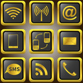 Mobile phone golden icons. — Stock Vector