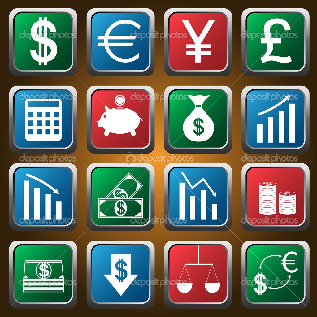 矢量彩色的金融图标集.矢量图— 矢量图片作者 mishabokovan
