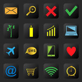 Web icons on the black background — Vettoriale Stock