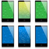 Set of touchscreen smartphones — Stock Vector