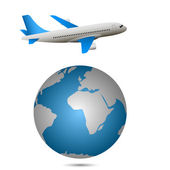 Airplane and globe — Stock Vector
