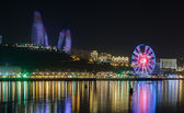 Flame Towers and Ferris wheel in Baku — Stock Photo