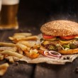 Hamburger. Hot and tasty. — Stock Photo #35390779