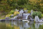 Cascade waterfall in Japanese Garden, Hasselt, Belgium — Stock Photo