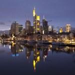 Business district of Frankfurt-am-Main at sunset — Stock Photo