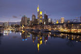 Business district of Frankfurt-am-Main at sunset — Stock Photo