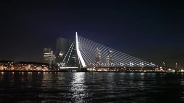 Erasmus Bridge in Rotterdam — Stock Video