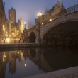 Michael s bridge and city belfot of Gent in fog — Stock Photo #45646177