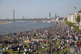 Crowds of people on the bank of Rhein — Stock Photo