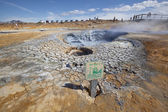 High temperature attention sign near fumarole — Stock Photo