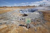 High temperature attention sign near fumarole — Stock Photo