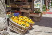 Boxes of lemons in a fruit shop — Stock Photo